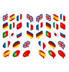 isometric set flags of the world isolated vector image