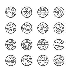 Landscape line icon set vector