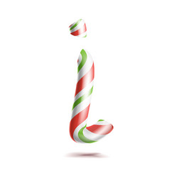 Letter i 3d realistic candy cane alphabet vector