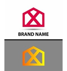 Letter X logo symbol house home real icon vector image