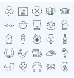 Line Irish Saint Patrick Day Icons Set vector image