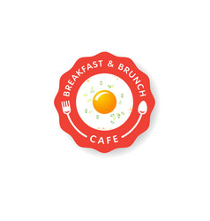 logo breakfast brunch cafe fast food morning vector image