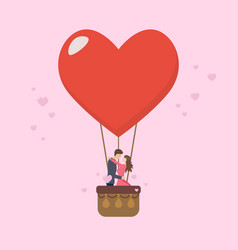 Loving couple are kissing on big heart balloon vector