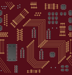 Micro chip seamless pattern vector