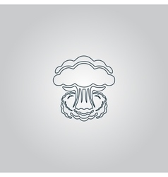 Mushroom cloud nuclear explosion silhouette vector image