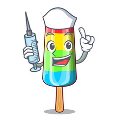 Nurse character beverage colorful ice cream stick vector