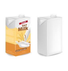 Oat milk packages isolated realistic vector