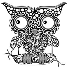 Owl zentagle black white black-white eye des vector