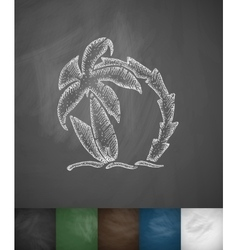 Palm tree and two surfboards icon hand drawn vector
