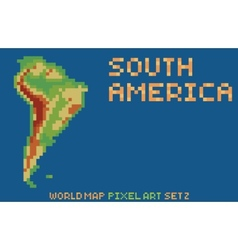 Pixel art style map of south america contains vector