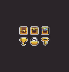Pixel art treasure vector