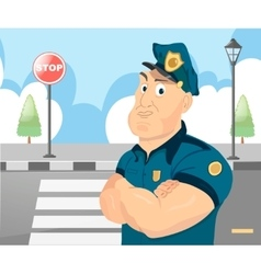 Policeman officer on city background vector