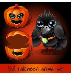 Ppumpkin and crow sullen on a dark red background vector image vector image