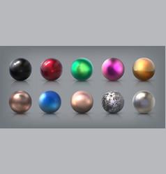 realistic metal balls 3d aluminum steel bronze vector image