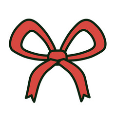 red bow ribbon decoration white background vector image