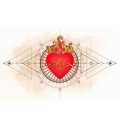 sacred heart jesus with rays vector image
