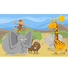 Safari animals group cartoon vector