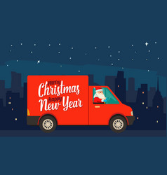 Santa claus is driving red delivery van in the vector