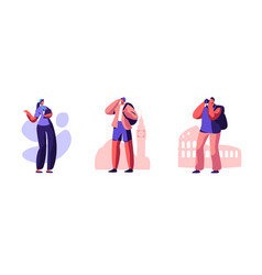 Set male tourist characters visit sightseeing vector