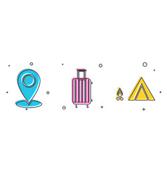 Set map pin suitcase for travel and tourist tent vector