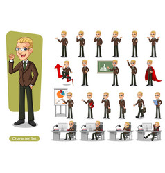 set of blonde businessman in brown suit vector image
