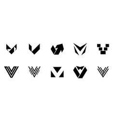 set of letter v logo vector image
