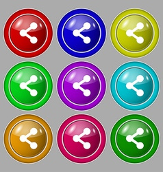 Share icon sign symbol on nine round colourful vector