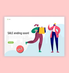 Shopping sale rush hour landing page vector