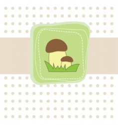 simple card with mushroom illustration vector image