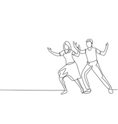 single continuous line drawing people dancing vector image