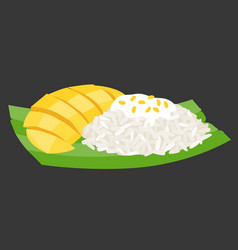 Sticky rice with mango on banana leaf vector