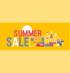 summer sale banner summer decoration with vector image