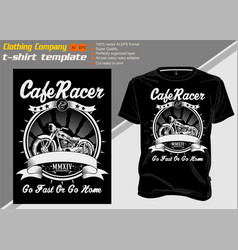 T shirt template cafe racer shirt designs biker vector