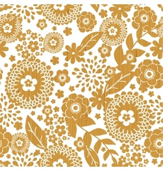 Textured wooden flowers seamless pattern vector image