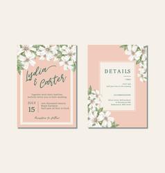 Thai flowers wedding card design vector