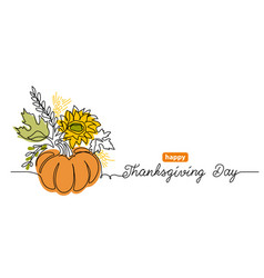 thanksgiving day one line art background vector image
