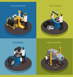 Tire production 2x2 design concept vector