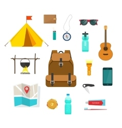 Tourist backpack with camping hiking things vector