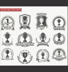 trophy retro badges colllection vector image