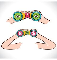 Two design of binocular dollar and eye show in len vector