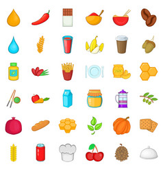 Vegetarian icons set cartoon style vector