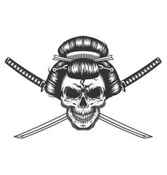 vintage monochrome geisha skull vector image