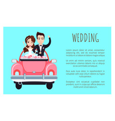 Wedding poster with happy couple greeting everyone vector