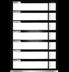 Weekly planner black and silver vertical vector