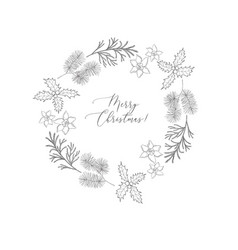 Winter wreaths with evergreen plant and branches vector