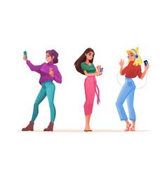 women using smartphones for selfie chat music vector image