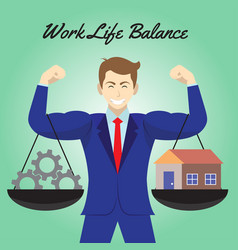 work life balance cogwheel and home hanging on vector image