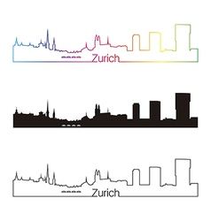 Zurich skyline linear style with rainbow vector image