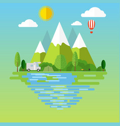 campsite place in mountain vector image
