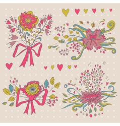 Hand drawn flower bouquet set Retro flowers in vector image vector image